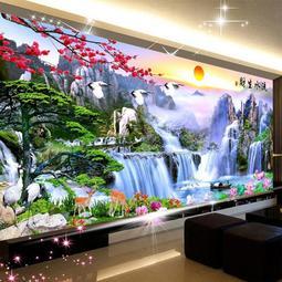 迎客鬆十字繡新款流水生財鉆石畫滿鉆客廳山水風景5d貼磚石秀