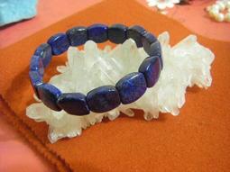 天然青金石版珠手鍊 ~~ 漂亮寶藍帶金 ~~ 青金石手珠 手環 ~~ 【1015】~~
