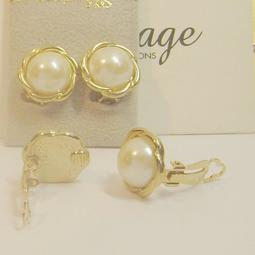 【比利時 Chartage】無過敏無鎳包18K金水晶鑽養珍珠 夾式耳環(9304202)
