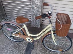 {名森自行車}和風牛奶車+24吋鋁合金輪圈+6段shimano變速 24吋自行車淑女腳踏車(未組裝)
