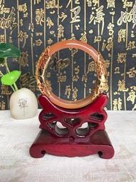 珍藏品 天然玉髓手鐲 合金雕花鑲玉髓瑪瑙手鐲