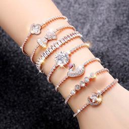 鋯鑽水晶抽拉式手鍊手環