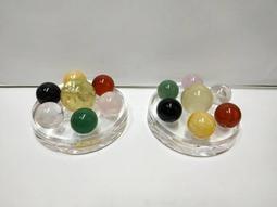 天然水晶五行七星盤,主珠檸檬黃水晶2.5cm+付珠,東菱玉,黑曜,黃玉,粉晶,紅瑪瑙,白水晶,付壓克力盤一組