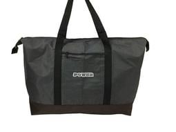 【IMAGEDUCK】M7489-(特價拍品)POWER旅行袋,跑單幫袋,購物袋 (灰+咖啡)台灣製作