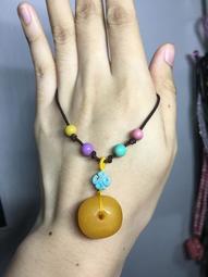 設計款 老蠟 蜜蠟 琥珀 毛衣鏈 項鍊 飾品 水晶 寶石