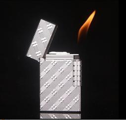 朗聲打火機 格子花紋 火石點火打火機 可充瓦斯打火機 內置金屬聲片掀蓋後發 郎聲