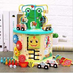 **悅好館** [現貨] 木製 多功能益智繞珠箱 百寶箱 工具箱 早教開發親子玩具 兒童玩具