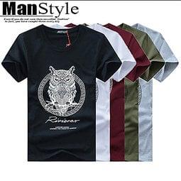 短袖T恤上衣ManStyle潮流嚴選個性潮流獨特貓頭鷹印花短袖T恤上衣【09B1001】