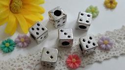【小芒果】手作材料/古銀色骰子孔珠/一份3個13元(MZ018)