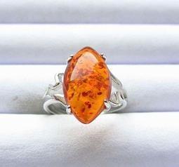 稀奇收藏品金珀純天然波蘭琥珀花珀原礦金包蜜金絞蜜14mm花珀戒指活圍內徑可調異象水晶珠寶玉石寶石首飾飾品
