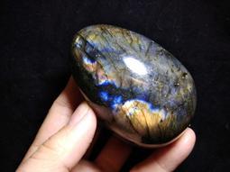 天然水晶灰月光石蛋拉長石擺件原礦原石水晶球手把件把玩件贈原木底座珠寶首飾飾品風水招財H8