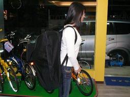 ★魔術方塊單車★全新STRIPE雙肩背式16~20吋摺疊車專用攜車袋(可雙肩背 & 側肩背 & 手提)_放太久長霉斑出清
