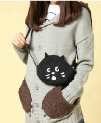 【現貨】 日雜附錄 Ne-net 黑貓臉 貓咪大頭造型 可愛刺繡圖案 帆布 斜背包 手機包 零錢包 小圓包