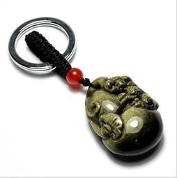 天然 黑曜石 金曜石 鑰匙扣 鑰匙圈 貔貅 開光 開運 招財 避邪 百分百天然黑曜石 正品保證