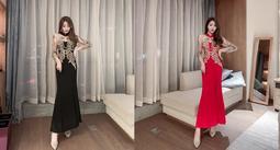 i crazy 88~*氣場性感優雅高貴氣質長款宴會魚尾裙顯瘦晚禮服長禮服洋裝-黑色-紅色(0376-81)