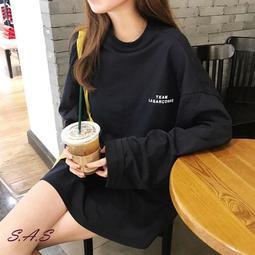 SAS 韓系寬鬆字母長T 寬鬆男友風T恤 中長款長袖T恤 寬鬆顯瘦百搭T恤【992T】
