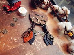 【Black Elk】純牛皮 葉脈設計 客製鑰匙圈 復古 高質感 真皮鑰匙扣