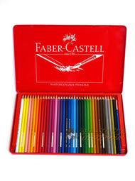 【汶采】Faber-Castell紅色系水性彩色鉛筆 36色(紅鐵盒) 學生級