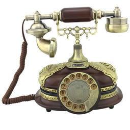 5Cgo【快樂窩】歐式旋轉復古電話機 高檔實木仿古轉盤電話座機 一帆風順