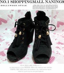 【萱 船 淇 姬】秋冬 新款 時尚 鏤空 流蘇 綁帶 魚口 露指 厚底 楔型 鞋