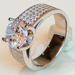 時尚韓版飾品 925純銀鍍鉑金指環 鑲嵌SONA真鑽3克拉男士4排碎鑽戒高碳仿真鑽石  FOREVER鑽寶