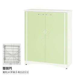 【在地人傢俱】19 南亞塑鋼系列-RF綠白雙色3尺雙開門鞋櫃 NY57RF03~滿5000另有折扣