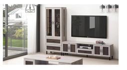 【zi_where】*麥卡倫~8.3尺雙色浮雕耐磨L型矮櫃/長櫃(電視櫃+展示櫃) $15533 ( 高雄市區免運)