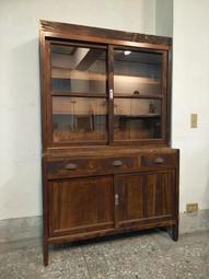 全檜 古董 玻璃書櫃 . 極美 全原件 .全檜 古董 玻璃書櫃 檜木櫃 黃檜 展示櫃 玻璃櫥 柑仔店 日治 民初