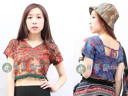 @~薩塔娜民族風:泰製_印度舞可_粉橘/藍/綠_印度變形蟲圖_滾毛球後綁繩鬆緊帶棉質短版上衣