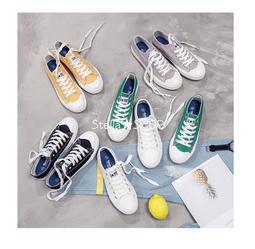Stella✿SHOP [現貨]超值回饋!T1韓國ulzzang韓星同款無印風低筒綁帶帆布鞋/5色