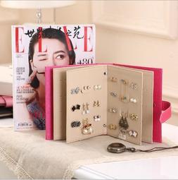 【888耳環書】 大本下標區 荔枝纹皮革書本造型 耳環收納本 收納 創意飾品盒 展示架 EXC
