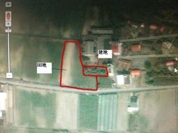 售台南市 將軍區巷口一小段大約建地566+110坪 只要400萬含建地跟田地.馬上建農舍