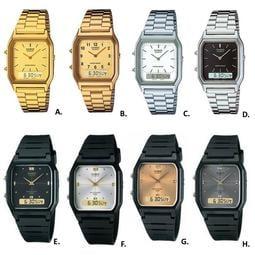 經緯度鐘錶CASIO復古型雙顯錶 復刻板長方型 雙時區顯示 中性款男女皆可 台灣卡西歐公司代理貨【超低價】AQ-230A