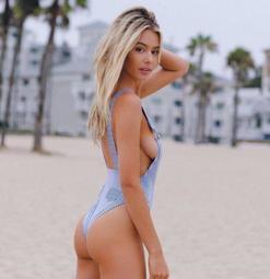 歐美新款沙灘溫泉泳裝 條紋裸胸丁字連身比基尼泳衣 2色 附胸墊 JM19