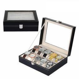 10格手錶盒 表層PU皮革 內襯絨布 電鍍卡扣 可視玻璃窗 收納展示收納盒PU皮手錶盒箱子