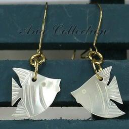 夏日風情 熱帶魚耳環 貝殼耳環 珍珠貝耳環 耳針耳環 流行飾品 約1.2x3公分 ER-B3