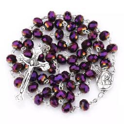 紫色璀璨紅土玫瑰經念珠項鍊