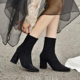 老闆不賣了!網美同款 英倫秋冬質感麂皮中筒靴 百搭高跟靴 尖頭後拉鍊 粗跟靴 女 靴子 襪靴 短靴 女靴 裸靴-杜達女孩