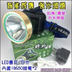 -釣魚夢想家-LED聚焦感應強光頭燈 白光感應 夜釣頭燈 內置18650鋰電*2 充電露營頭燈 戶外照明 IP4防水頭燈