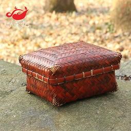 復古竹編盒純手工茶道收納盒 竹編收納盒 帶蓋茶葉盒 食盒 果盤 零食收納盒