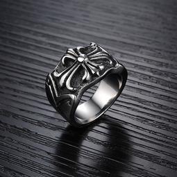 飾品混批 霸氣個性十字架圖案 潮流時尚鈦鋼男士戒指 GJ4067號