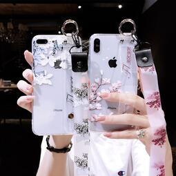 透明腕帶玉蘭花iPhone11手機殼蘋果x女網紅8plus防摔帶掛繩6s軟硅