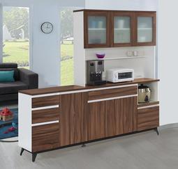 【風禾家具】HJS-725-1@北美胡桃色7尺L型餐櫃【台中27900送到家】收納櫃 櫥櫃 環保低甲醛E1系統板傢俱