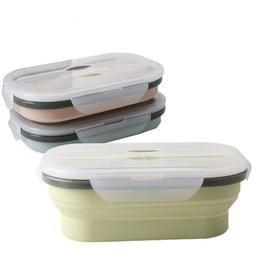 【減價】矽膠折疊飯盒 餐盒 保鮮盒 便當盒北歐藍/綠/杏三色850ml 耐熱230度/無毒/非塑 單件價SPHB18
