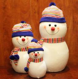 圣诞装饰品雪公仔圣诞树摆件娃娃红蓝帽雷锋帽绒布商场橱窗布置(可開立發票)