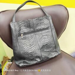 當天20:00前下單.當天出貨 琦美百貨,員林二手店 二手古董包-日本品牌SUN-ACE真皮 鱷魚皮-黑 手提包