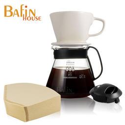 Bafin House 4人份陶瓷濾杯玻璃壺組(贈 三洋濾紙 100張) 咖啡壺 手沖壺 手沖 咖啡 泡茶壺 沖泡壺