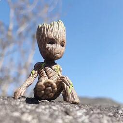 坐姿格魯特袖珍版 樹人寶寶 擺件 模型 銀河護衛隊 巴西木盆栽玩具