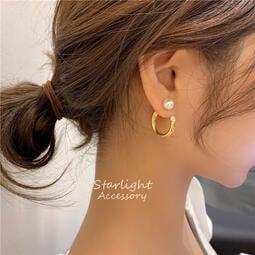 《Starlight Accessory 》正韓 珍珠C圈 兩戴式耳環 純銀耳針 少女時代 潔西卡同款