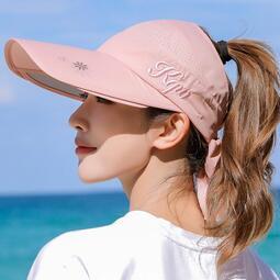 空頂帽女夏天遮陽帽防曬防紫外線帽子可伸縮大沿拉板帽戶外太陽帽